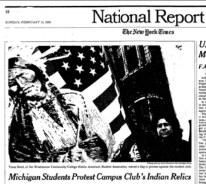 Image of a page from the New York Times, showing a protestor waving an American flag, overlaid with an image of a Native American man