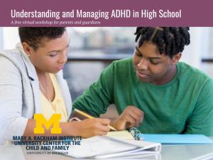 ADHD Workshops 2021 - High School