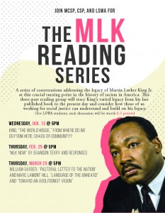 The MLK reading series flyer