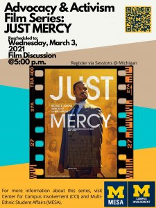 Just Mercy film discussion 3/3. Register via Sessions.