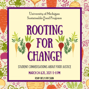 Rooting for Change! 5-8pm Wednesday, March 24 and Thursday, March 25 2021
