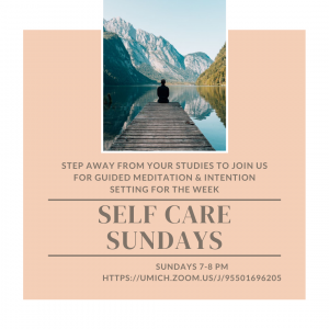 Flyer sharing information about the self care Sunday program.
