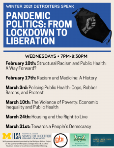 Event title and session titles with blue accent colors and an image of a face mask with a fist made up of racial justice words on it