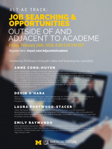 Alt-Ac Track: Job Searching & Opportunities Outside of and Adjacent to Academe