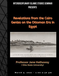 Revelations from the Cairo Geniza on the Ottoman Era in Egypt lecture poster