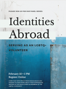 Identities Abroad: Serving as an LGBTQ+ Volunteer: blue and white flyer