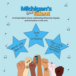 Flyer for Michigan's Got Talent on March 3rd at 8pm