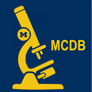 Yellow initials MCDB and cartoon of a microscope on a blue background