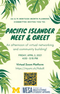 A flier with tropical green leave design all around