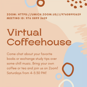 Flyer sharing information about the virtual coffee house program.