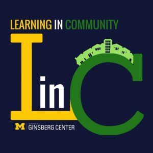 "Learning in Community graphic (Buildings on top of ""C"")"