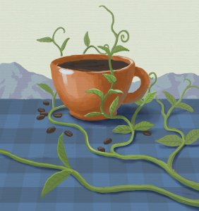 Coffee cup with vines growing around and mountains in the background