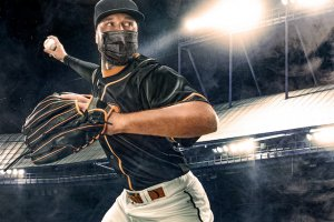 Elite baseball player with COVID-19 mask