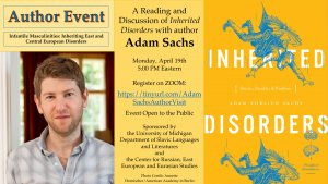 A Reading and Discussion of Inherited Disorders with author Adam Sachs