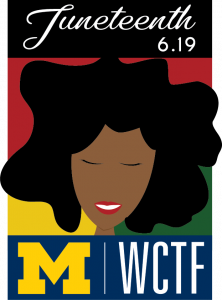 WCTF Juneteenth Logo - Black woman smiling with closed eyes