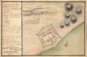 """""""Sketch of the fort at Michilimackinac,"""" Thomas Gage Papers, William L. Clements Library"""