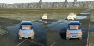 Virtual autonomous vehicles make a left turn