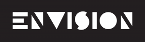 Stylized text spells out Envision in white capital letters on black background