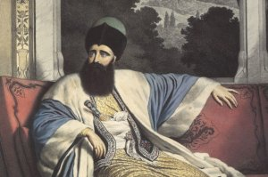 """Detail from """"The Prince of Moldavia, Michael Soutzos."""" Colored lithograph by Louis Dupré, 1825."""