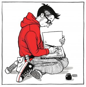 An illustration of a person sitting on the floor, sketching in a sketch book.