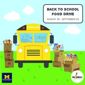 Illustration of school bus with donated food