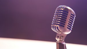 Microphone with purple background