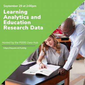 Promotional image for ICPSR webinar featuring teacher and student with green background