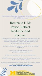 Return to UM: Pause, Reflect, Redefine, and Recover poster