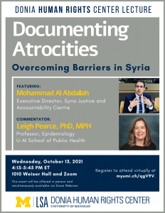 Donia Human Rights Center Lecture. Documenting Atrocities: Overcoming Barriers in Syria