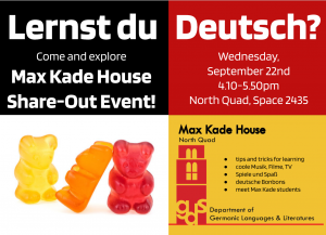 Max Kade House Share-Out Event Flyer