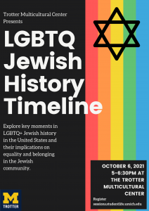 On the left side, title of event in white text with the program details included below on a black background. On the right side, horizontal stripes of red, orange, yellow, green, and blue with a black star at the top.