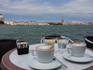 An Italian cafe table set with coffee