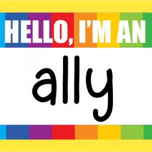 Hello I am an Ally name tag with a rainbow header