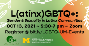Event information in black text against a green gradient background and an orange gradient half-circle on the right side. Logos for the Spectrum Center and Latinx Heritage Month 2021 appear on the bottom left.