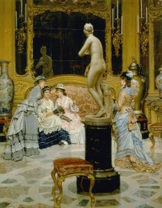 <p>Pier Celestino Gilardi, <em>A Visit to the Gallery</em>, 1877, oil on canvas. University of Michigan Museum of Art, Bequest of Henry C. Lewis, 1895.94</p>