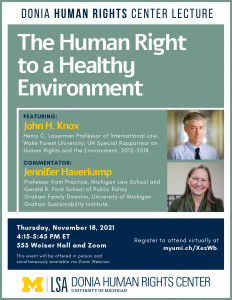 Donia Human Rights Center Lecture. The Human Right to a Healthy Environment