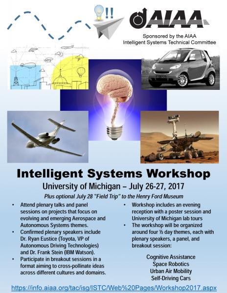 2017 AIAA Intelligent Systems Workshop: This meeting will gather together private sector, government, and academic interests whose research and development work supports interdisciplinary applications of intelligent systems.