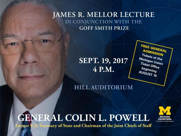 A Conversation with General Colin Powell: James R. Mellor Lecture in Conjunction with the Goff Smith Prize