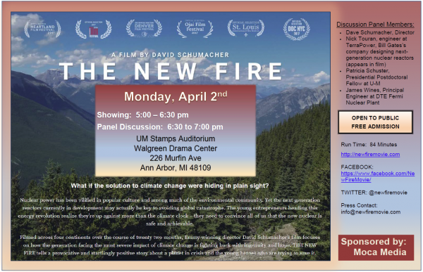 Film & panel: Nuclear power vs. climate change: Screening of The New Fire, a documentary film about nuclear power's promise as a means to drastically reduce carbon emissions.