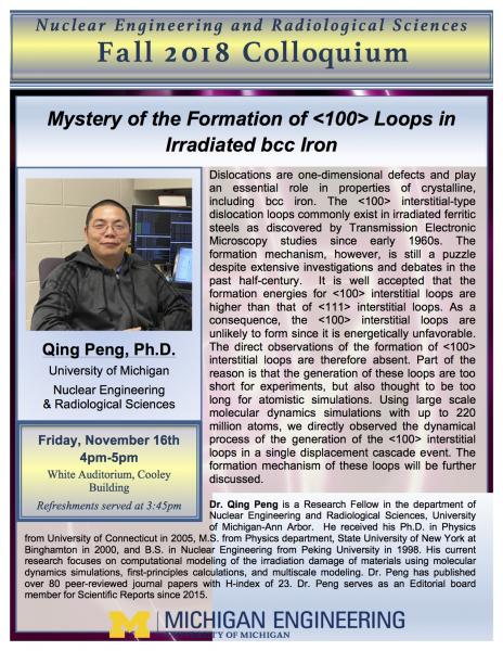 NERS Colloquium:  Qing Peng, NERS: Mystery of the Formation of <100> Loops in Irradiated Iron