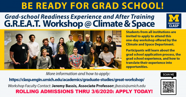 - CANCELED - G.R.E.A.T. Workshop - Grad school Readiness Experience and After Training