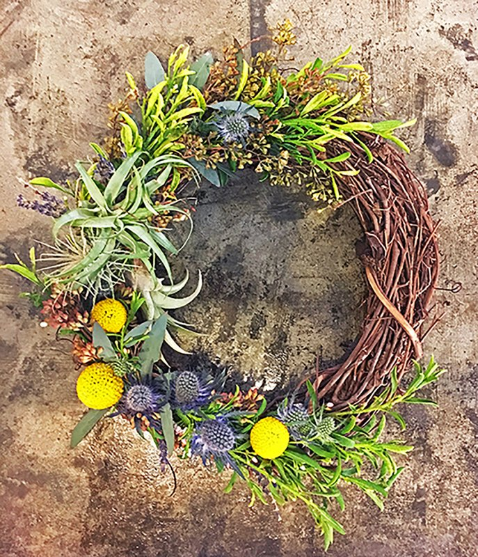 high photograph of a mini wreath by university flower shop photo by danielle vignos high