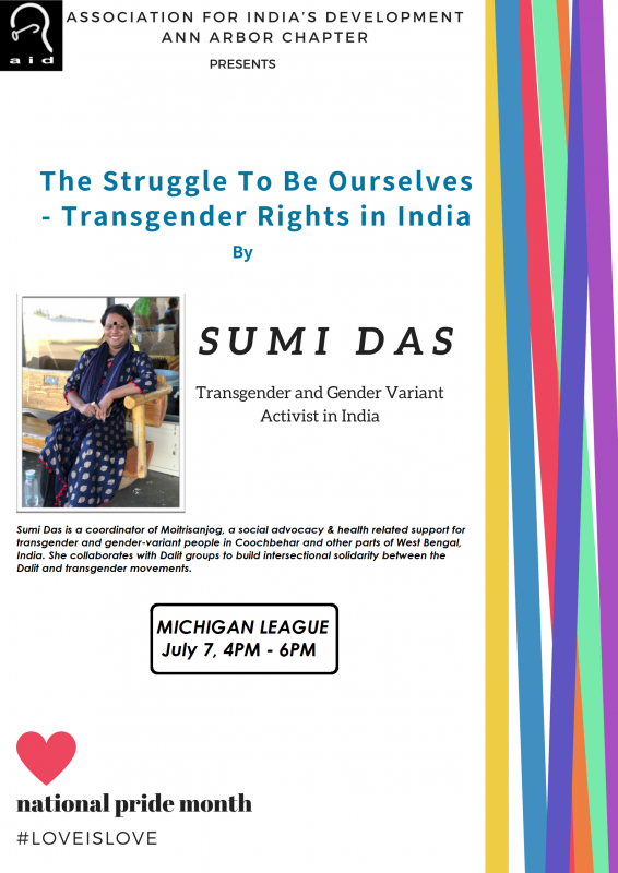 Sumi will be speaking about her own experiences as a transgender woman in  India as well efforts to stop gender discrimination across the country.