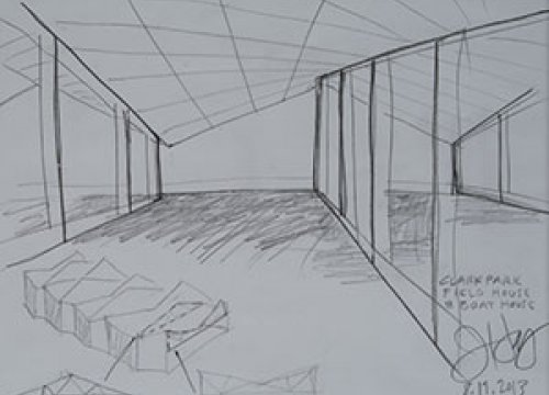 Jeanne Gang. Boathouse Sketch, 2013. Pencil on paper, 11 x 8 1/2 in. The Univers