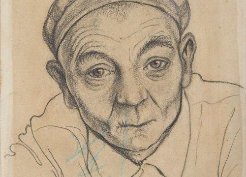 Franciszek Jaźwiecki, A Portrait of Piotr Kajzer, 20 x 14 cm, paper, pencil, crayon, KL Buchenwald 1944